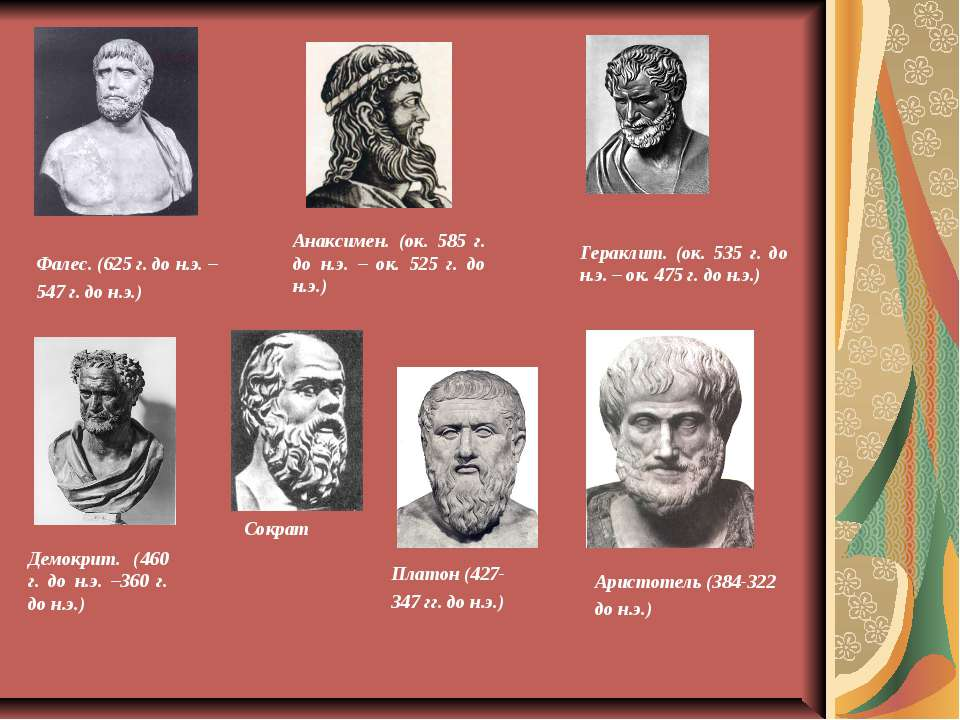 Фалес. (625 г. до н.э. – 547 г. до н.э.) Анаксимен. (ок. 585 г. до н.э. – ок....