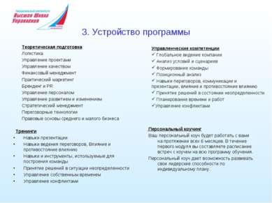 3. Устройство программы Теоретическая подготовка Логистика Управление проекта...