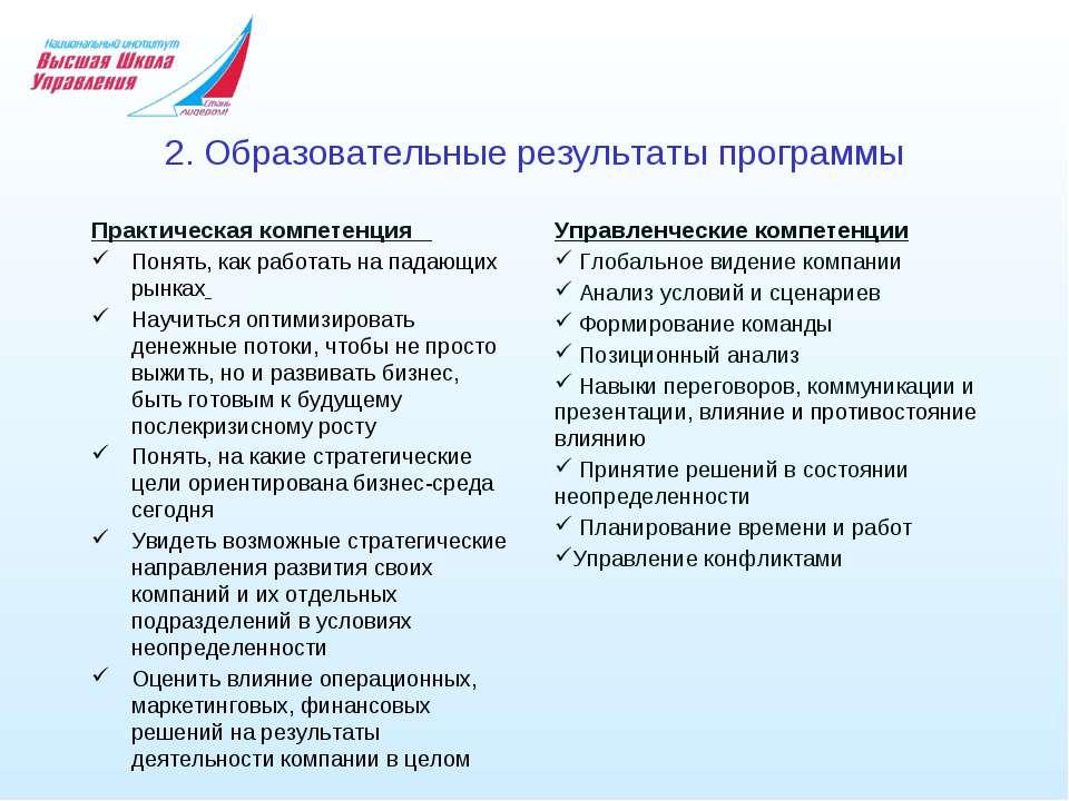 2. Образовательные результаты программы Практическая компетенция Понять, как ...
