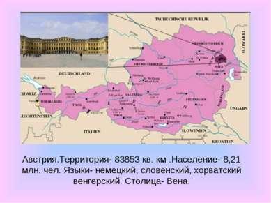 Австрия.Территория- 83853 кв. км .Население- 8,21 млн. чел. Языки- немецкий, ...