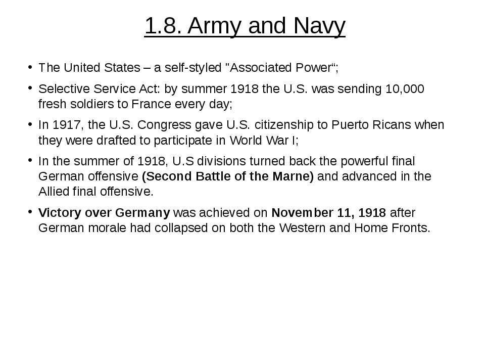 "1.8. Army and Navy The United States – a self-styled ""Associated Power""; Sele..."