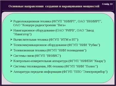 Основные направления создания и наращивания мощностей Радиолокационная техник...