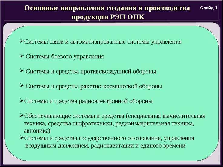 Основные направления создания и производства продукции РЭП ОПК Системы связи ...