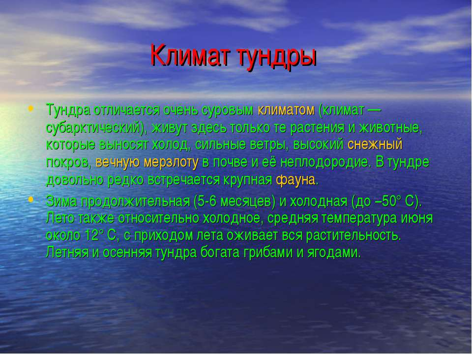 Климат тундры Тундра отличается очень суровым климатом (климат— субарктическ...