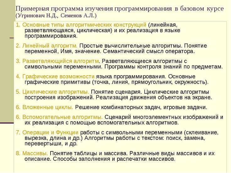 Примерная программа изучения программирования в базовом курсе (Угринович Н.Д....