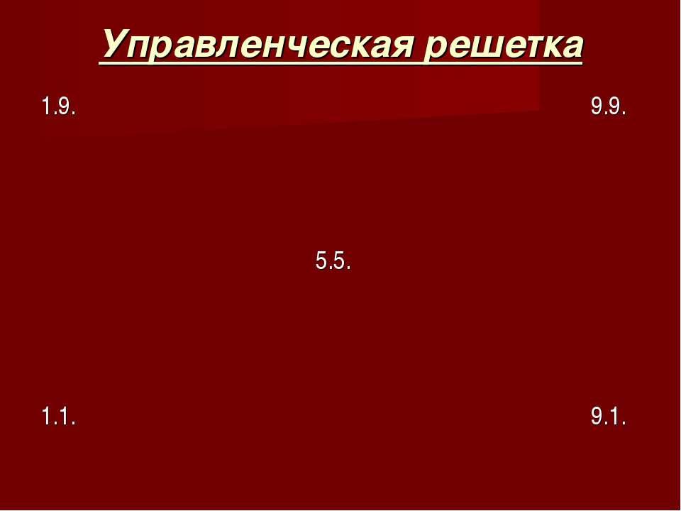 Управленческая решетка 1.9. 9.9. 5.5. 1.1. 9.1.