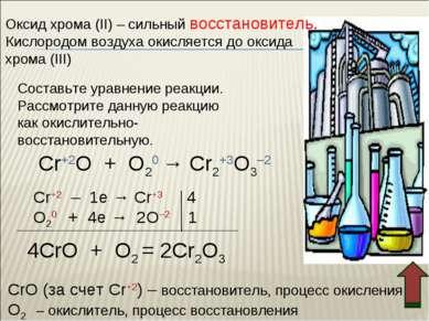 Оксид хрома (II) – сильный восстановитель. Кислородом воздуха окисляется до о...