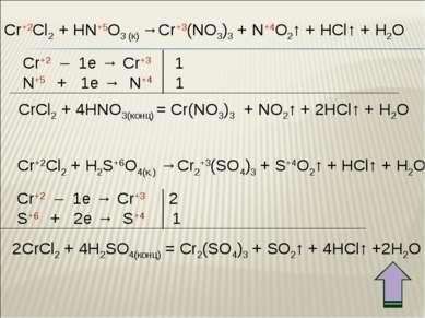 Cr+2Cl2 + HN+5O3 (к) →Cr+3(NO3)3 + N+4O2↑ + HCl↑ + H2O Cr+2 – 1e → Cr+3 1 N+5...