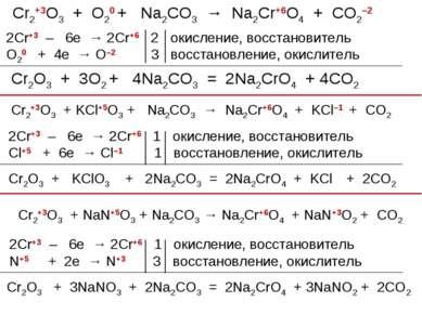 Cr2+3O3 + O20 + Na2CO3 → Na2Cr+6O4 + CO2–2 2Cr+3 – 6e → 2Cr+6 2 окисление, во...