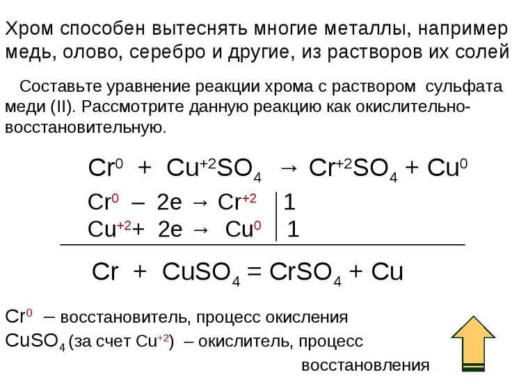 Хром способен вытеснять многие металлы, например медь, олово, серебро и други...