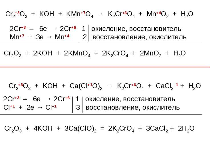 Cr2+3O3 + KOH + KMn+7O4 → K2Cr+6O4 + Mn+4O2 + H2O 2Cr+3 – 6e → 2Cr+6 1 окисле...