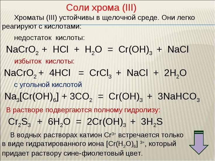 Соли хрома (III) Хроматы (III) устойчивы в щелочной среде. Они легко реагирую...