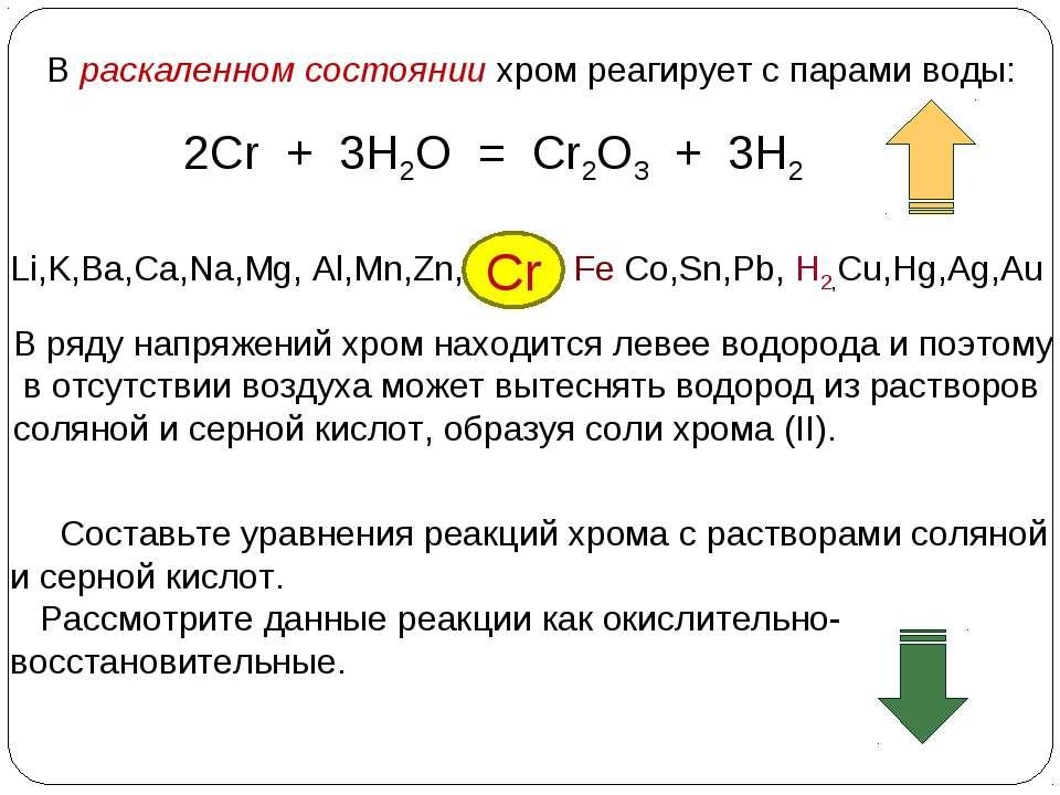 В раскаленном состоянии хром реагирует с парами воды: 2Cr + 3H2O = Cr2O3 + 3H...