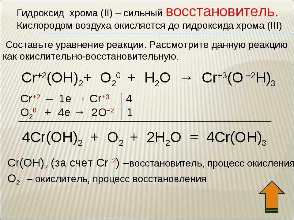 Гидроксид хрома (II) – сильный восстановитель. Кислородом воздуха окисляется ...