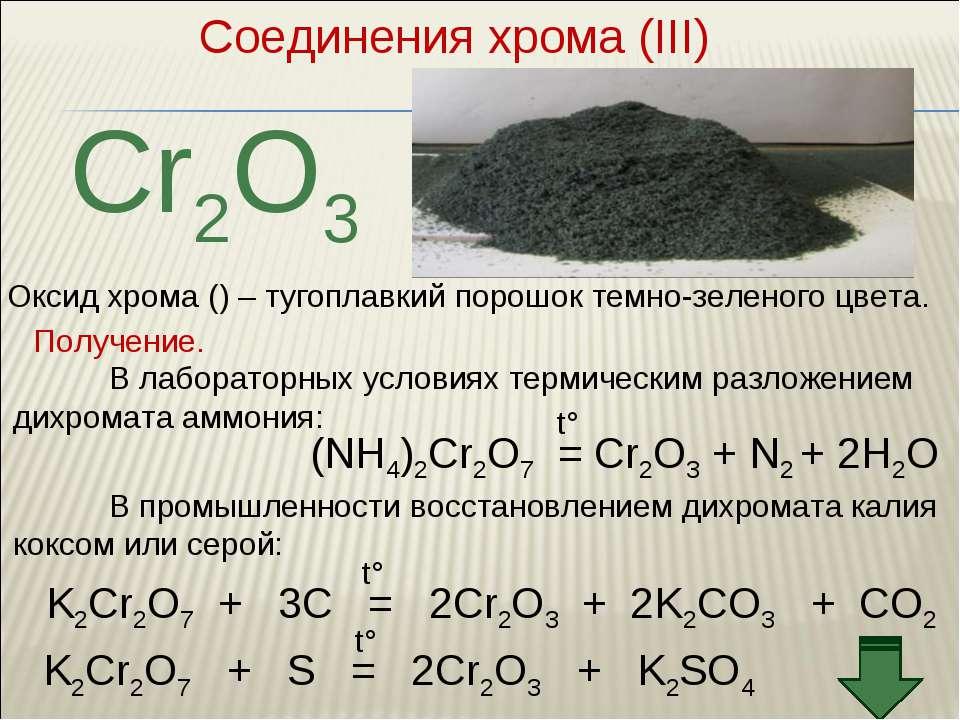Соединения хрома (III) Cr2O3 Оксид хрома () – тугоплавкий порошок темно-зелен...