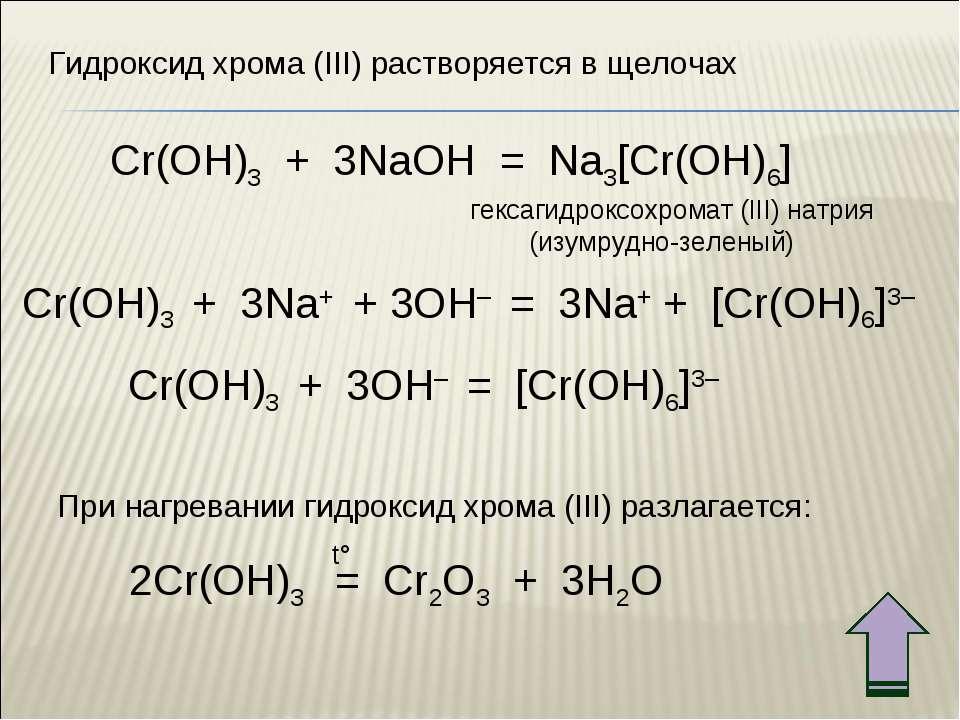 Cr(OH)3 + 3NaOH = Na3[Cr(OH)6] Cr(OH)3 + 3Na+ + 3OH– = 3Na+ + [Cr(OH)6]3– Cr(...
