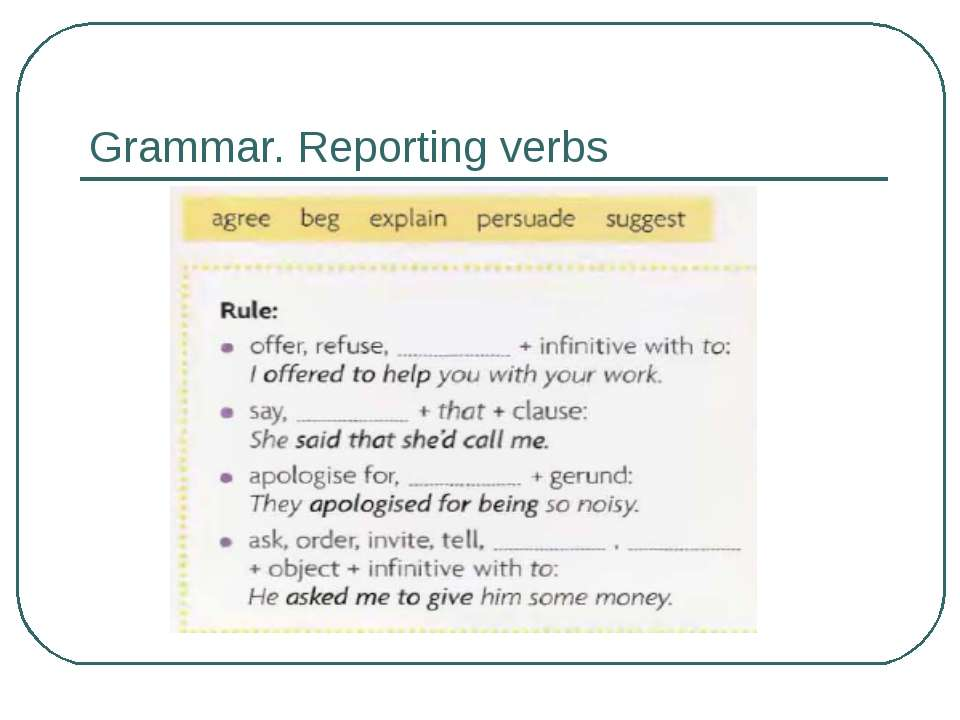 reporting verb Some reporting verbs may appear in more than one of the following groups because they can be used in several ways.