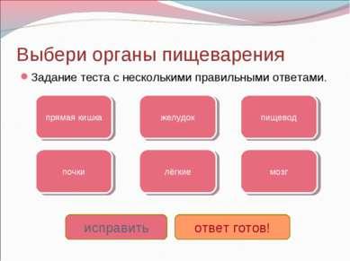 Выбери органы пищеварения Задание теста с несколькими правильными ответами. п...
