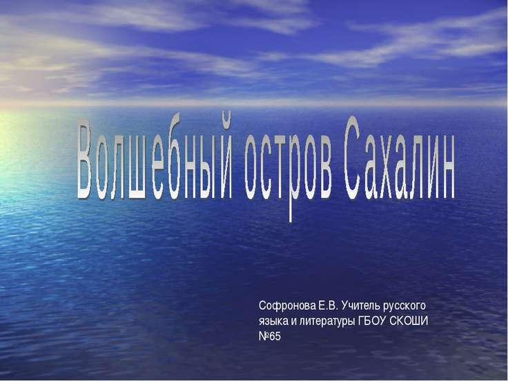 Софронова Е.В. Учитель русского языка и литературы ГБОУ СКОШИ №65
