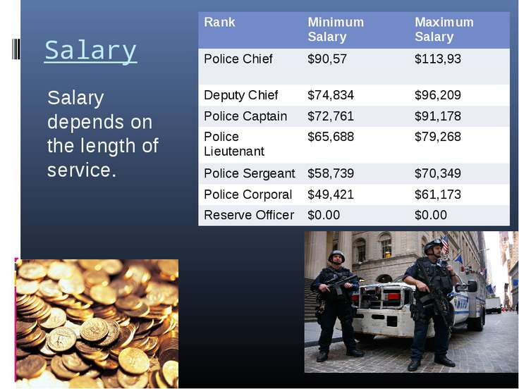 Salary Salary depends on the length of service. Rank Minimum Salary Maximum S...