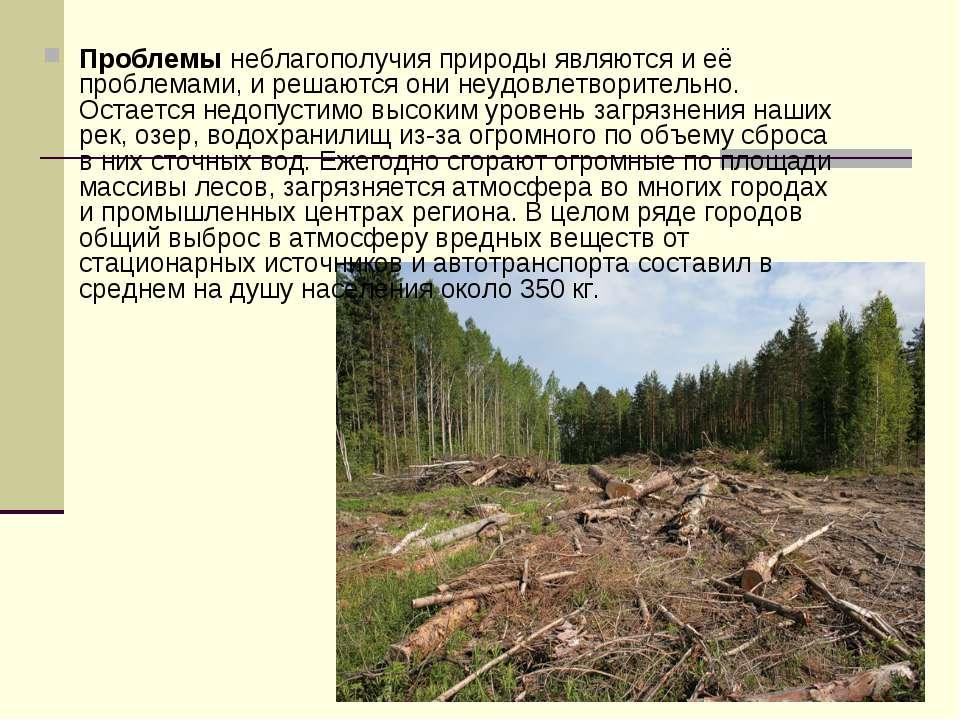 Проблемы неблагополучия природы являются и её проблемами, и решаются они неуд...