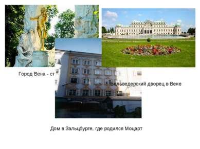 Город Вена - столица Австрии Дом в Зальцбурге, где родился Моцарт Бельведерск...