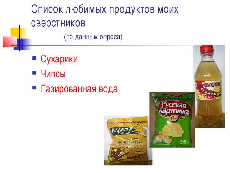 Список любимых продуктов моих сверстников (по данным опроса) Сухарики Чипсы Г...