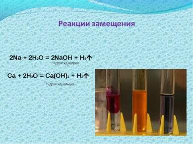 2Na + 2H2O = 2NaOH + H2 Ca + 2H2O = Ca(OH)2 + H2 Гидроксид натрия Гидроксид к...