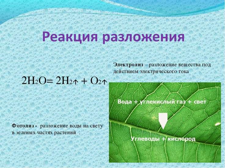 2Н2О= 2Н2 + О2 Электролиз – разложение вещества под действием электрического ...