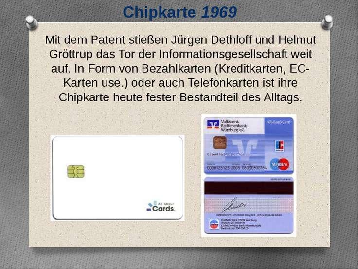Mit dem Patent stießen Jürgen Dethloff und Helmut Gröttrup das Tor der Inform...