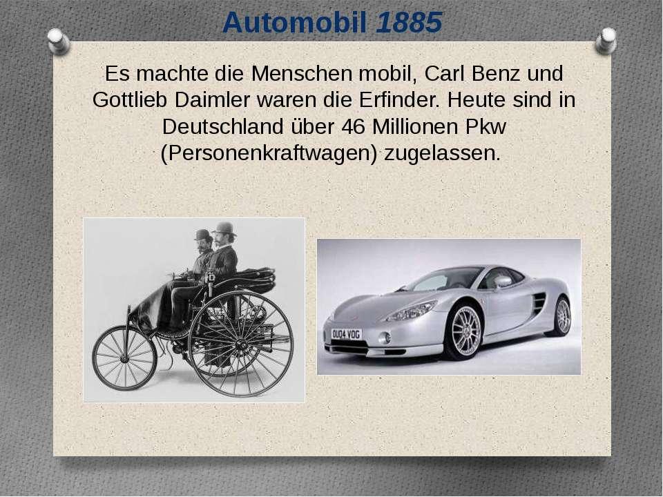 Automobil 1885 Es machte die Menschen mobil, Carl Benz und Gottlieb Daimler w...