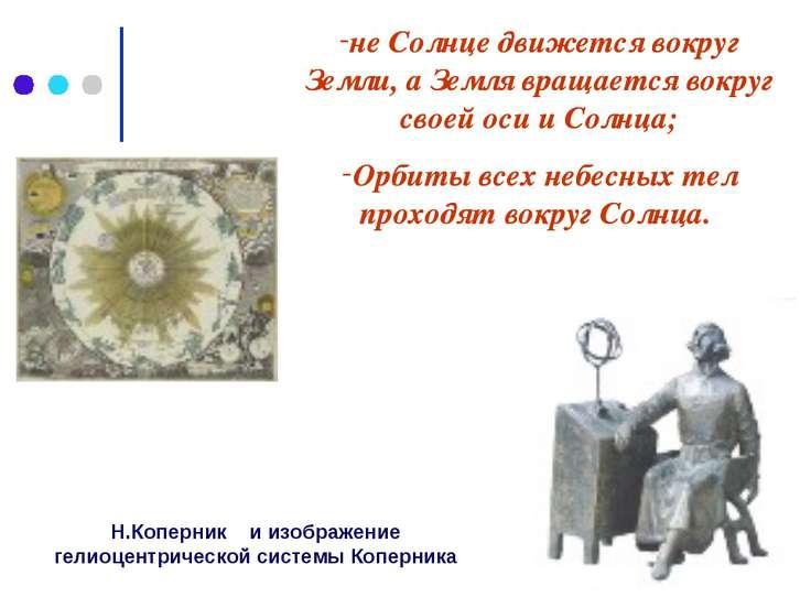 Н.Коперник и изображение гелиоцентрической системы Коперника не Солнце движет...
