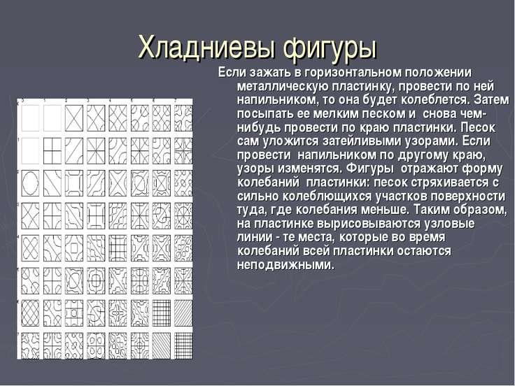 Хладниевы фигуры Если зажать в горизонтальном положении металлическую пластин...