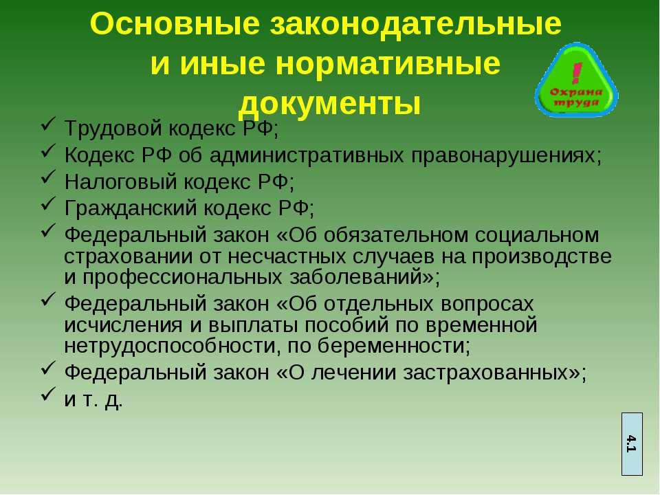 Основные законодательные и иные нормативные документы Трудовой кодекс РФ; Код...