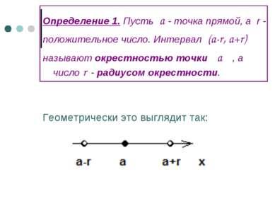 Определение 1. Пусть a - точка прямой, а r - положительное число. Интервал (a...