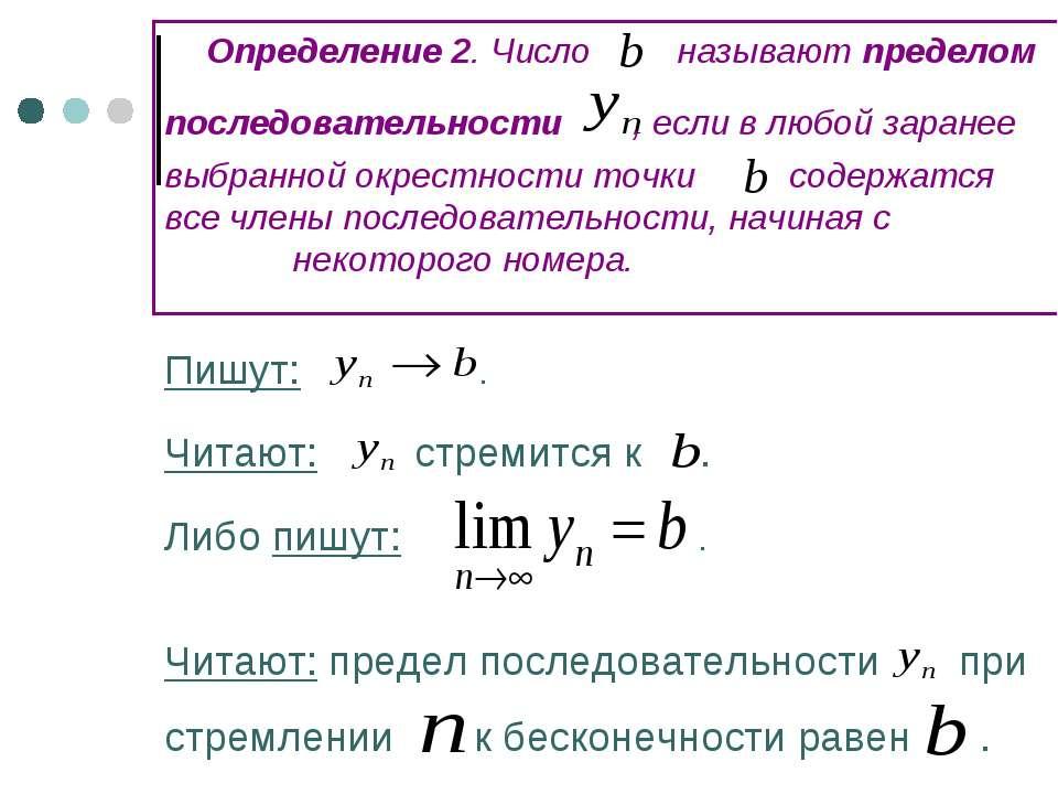 Определение 2. Число называют пределом последовательности , если в любой зара...