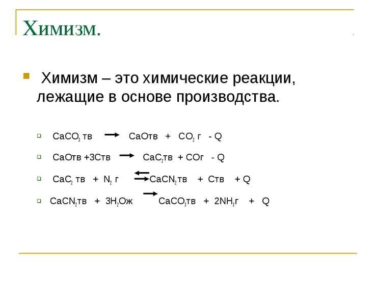 Химизм. Химизм – это химические реакции, лежащие в основе производства. CaCO3...