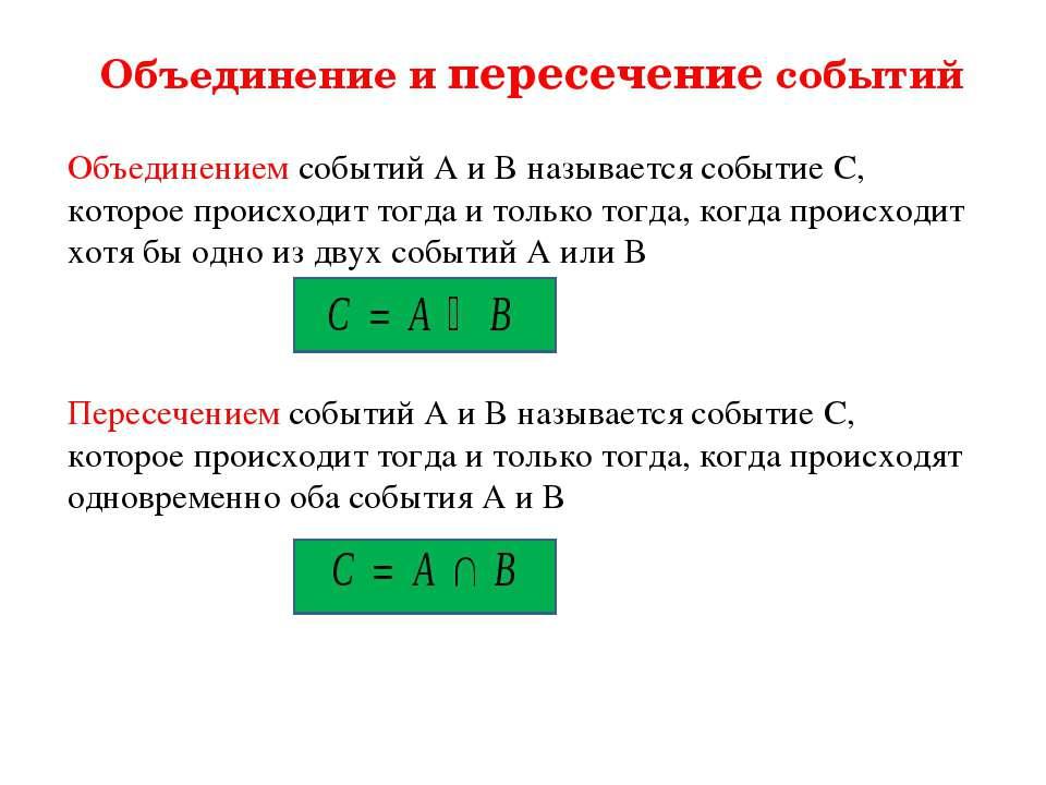 Объединение и пересечение событий Объединением событий А и В называется событ...