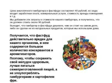 Цена аналогичного гамбургера в фастфуде составляет 40 рублей, но сюда входит ...