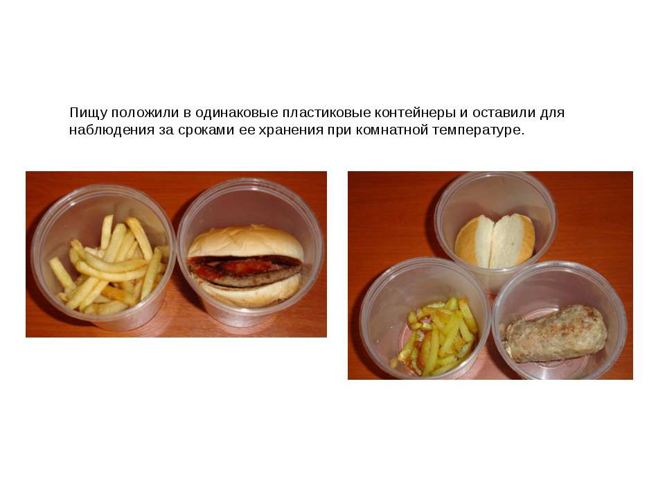 Пищу положили в одинаковые пластиковые контейнеры и оставили для наблюдения з...