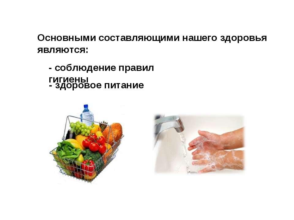 - здоровое питание - соблюдение правил гигиены Основными составляющими нашего...