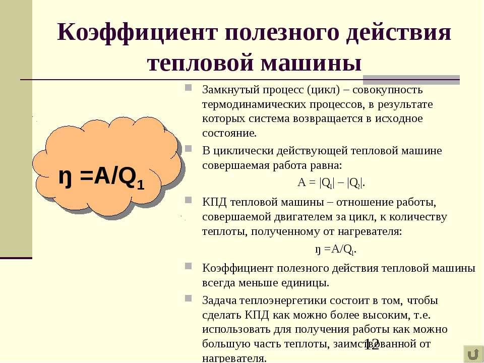 Коэффициент полезного действия тепловой машины Замкнутый процесс (цикл) – сов...