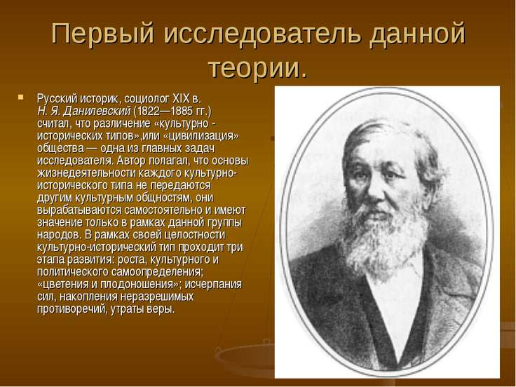 Первый исследователь данной теории. Русский историк, социолог XIXв. Н.Я.Да...