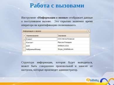 Инструмент «Информация о звонке» отображает данные о поступившем вызове. Это ...