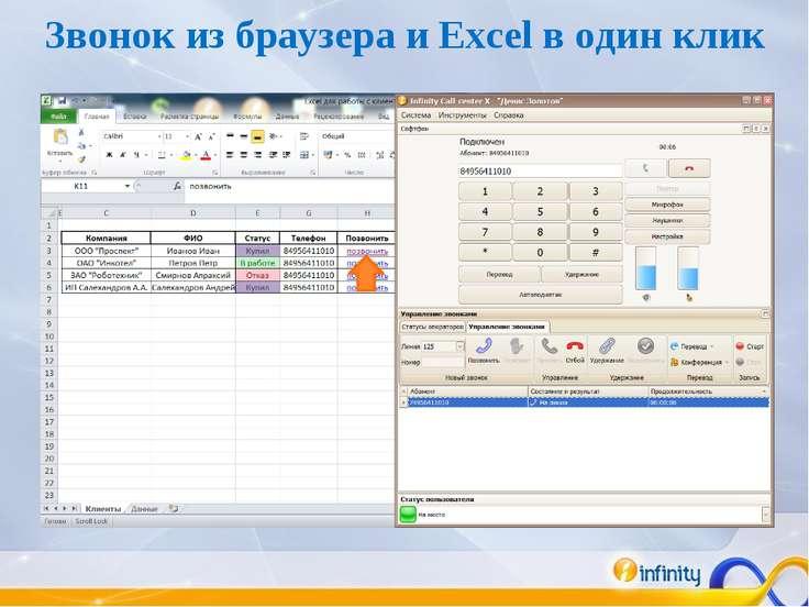 Звонок из браузера и Excel в один клик