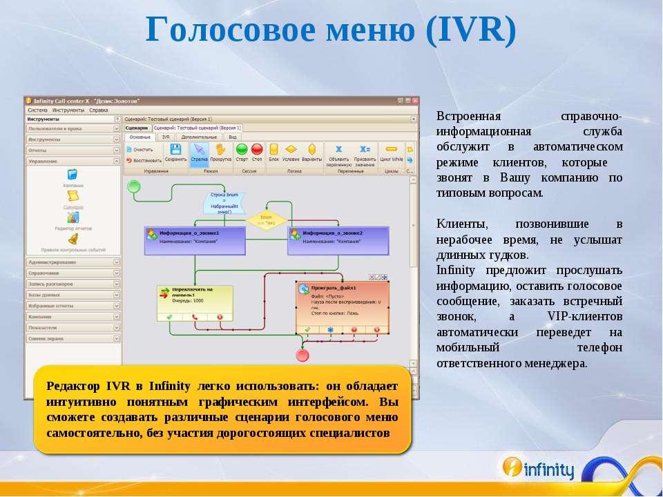 Голосовое меню (IVR) Встроенная справочно-информационная служба обслужит в ав...