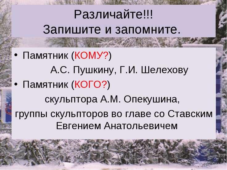 Различайте!!! Запишите и запомните. Памятник (КОМУ?) А.С. Пушкину, Г.И. Шелех...