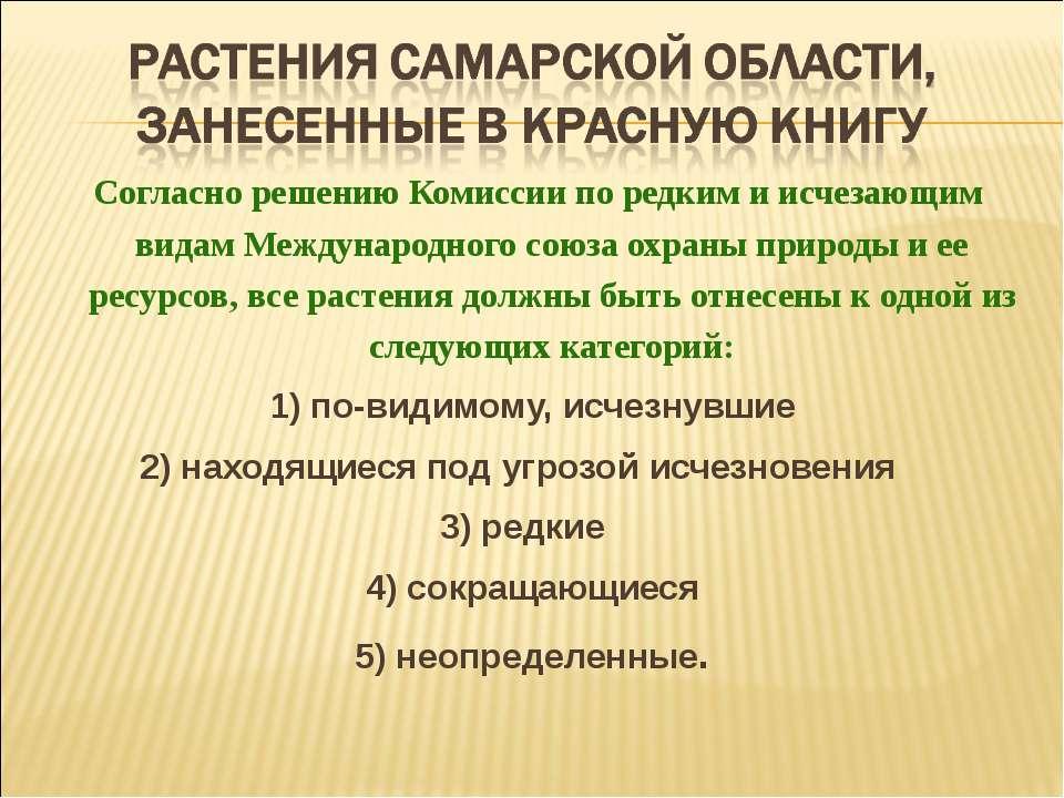 Согласно решению Комиссии по редким и исчезающим видам Международного союза ...