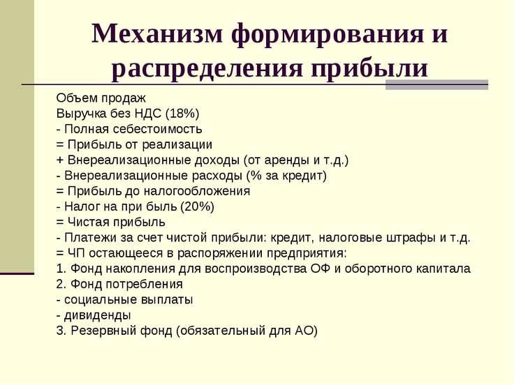 Механизм формирования и распределения прибыли Объем продаж Выручка без НДС (1...