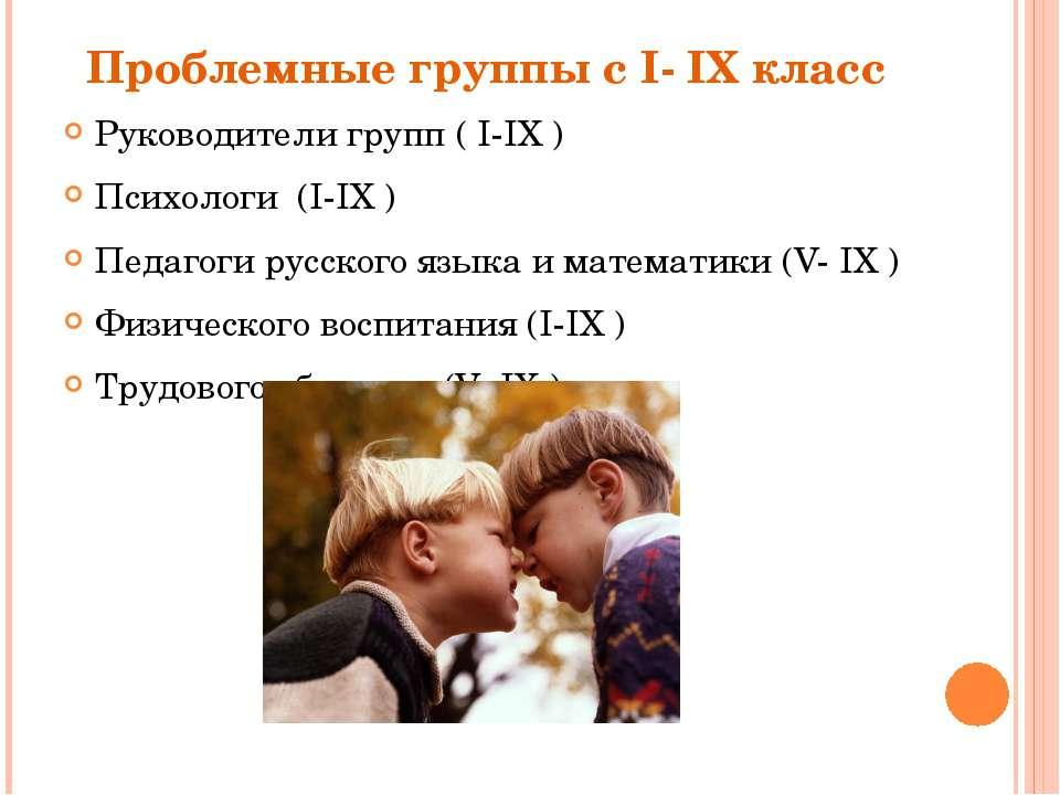 Проблемные группы с I- IX класс Руководители групп ( I-IX ) Психологи (I-IX )...